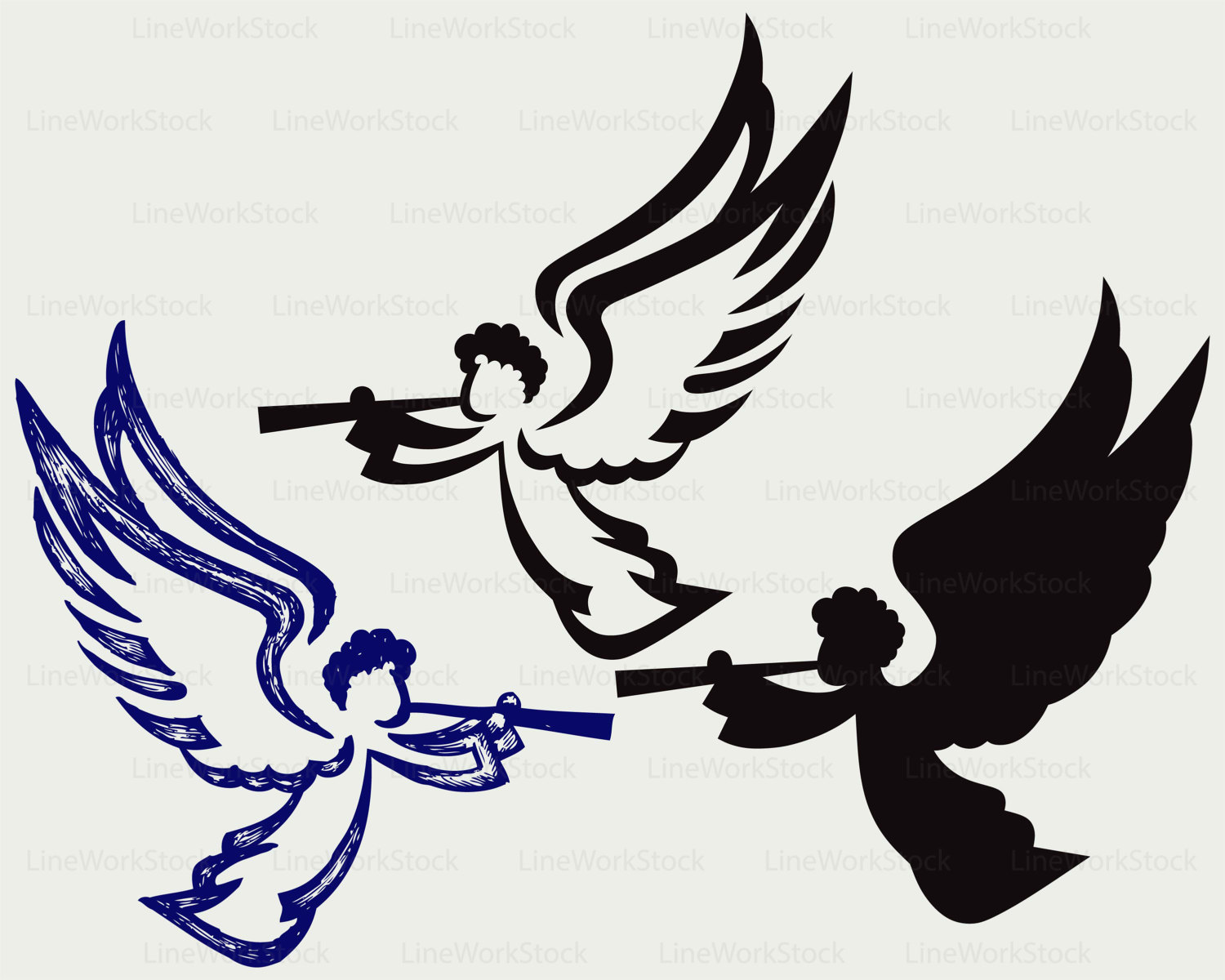 1500x1200 Angel With Trumpet Svgclipartangel Svgtrumpet Silhouetteangel