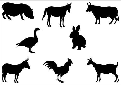 501x352 Farm Animal Silhouettes Clipart