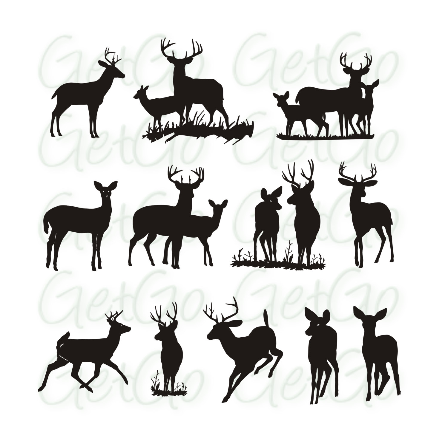 1500x1489 Deer Silhouette Printable Graphic Artwork Clip Art Vector Animals