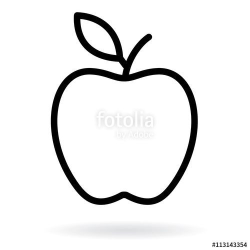 500x500 Apple Line Drawing. Apple Black Silhouette. Vector Illustration