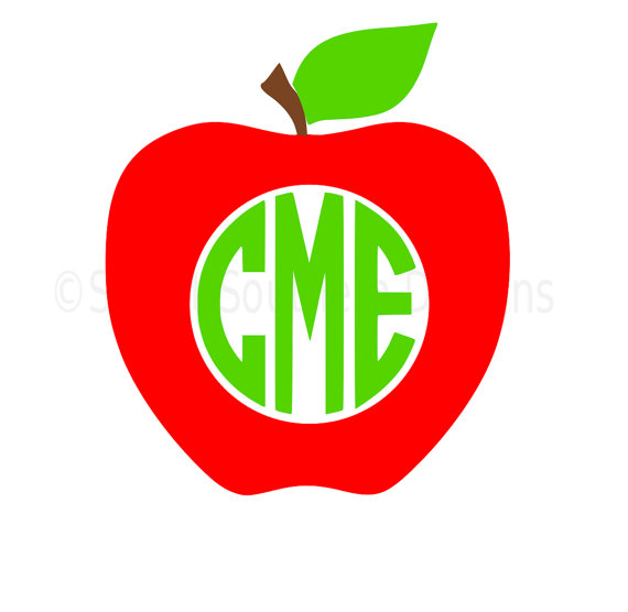 570x556 Apple Monogram Svg Instant Download Design For Cricut