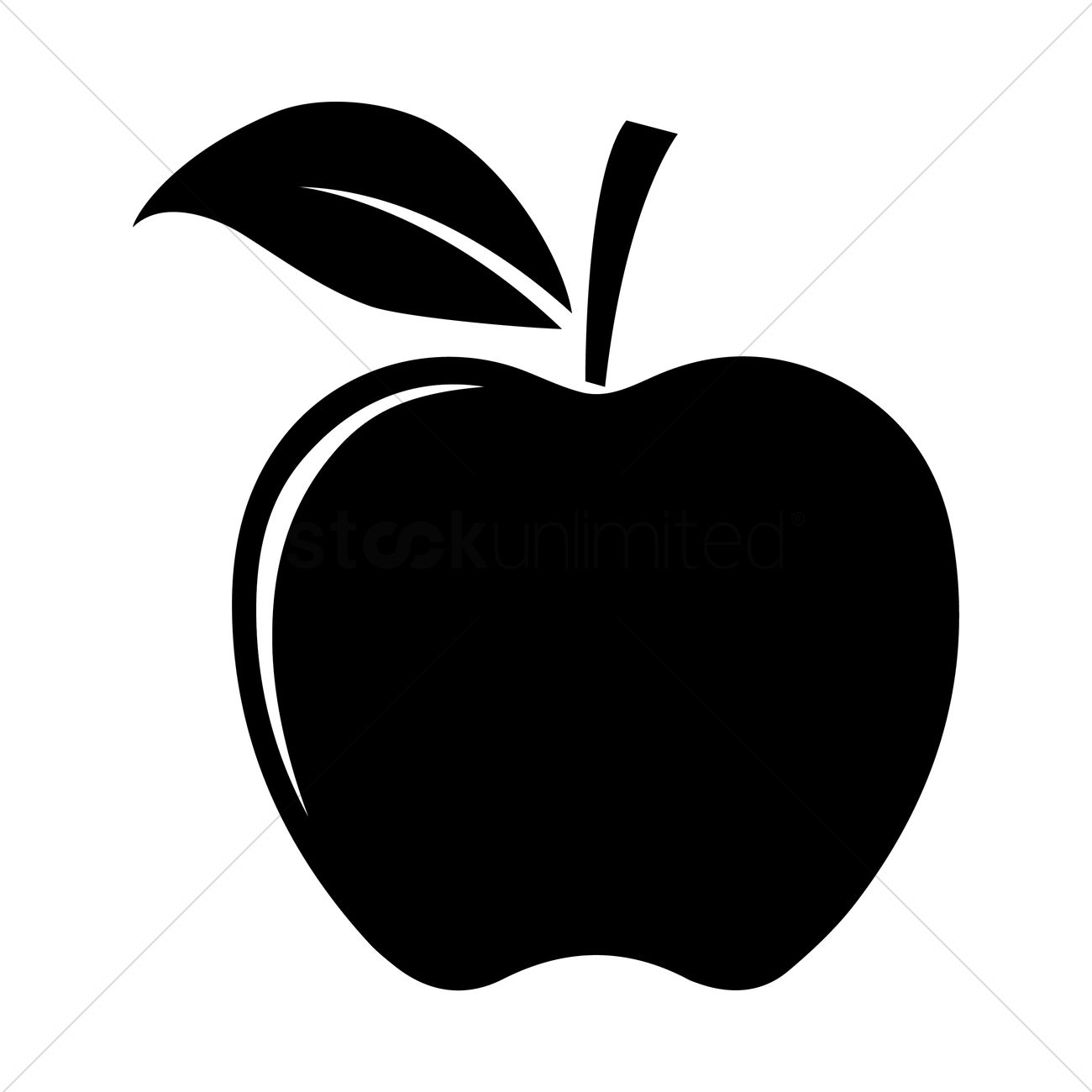 1300x1300 Apple Silhouette Vector Image