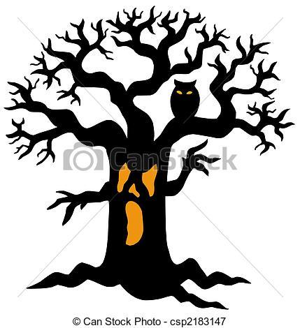 429x470 Spooky, Silhouette, Arbre. Silhouette, Illustration