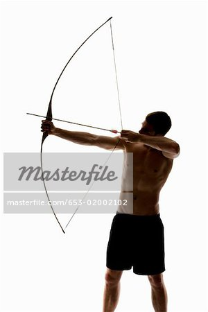 300x450 Silhouette Of Archer Pulling An Arrow Back On His Longbow