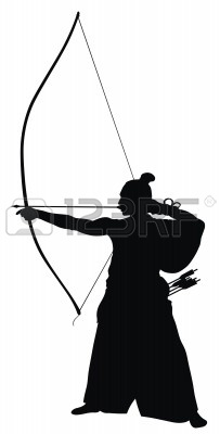 203x400 Abstract Vector Illustration Of Japanese Archer Silhouette Vector