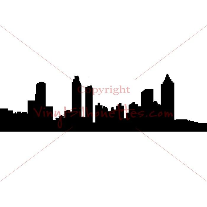 700x700 Atlanta Georgia Skyline Silhouette, Cityscape Vinyl Decal, Wall