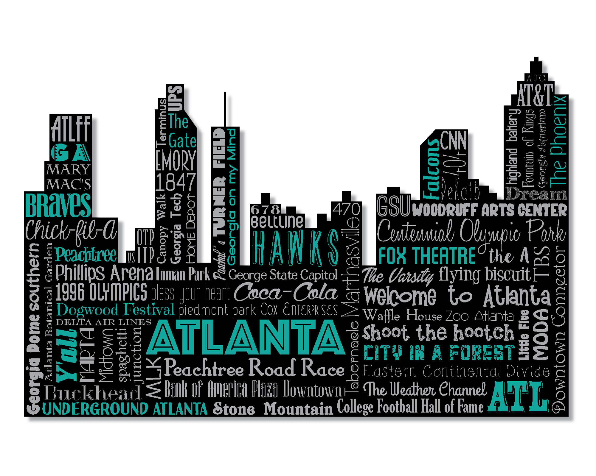 2000x1599 Original Artwork Using Words To Describe City Of Atlanta