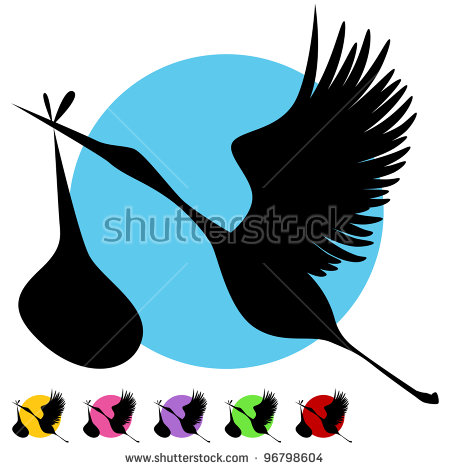 450x470 Stork Clipart Baby Silhouette