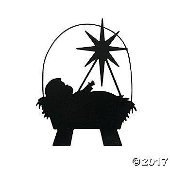 350x350 Metal Baby Jesus In Manger Silhouette