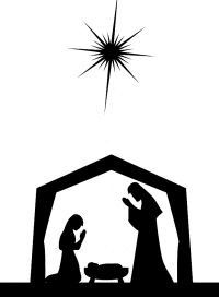 200x272 Baby Jesus In A Manger Silhouette Primitive Topper Stencil~ Baby