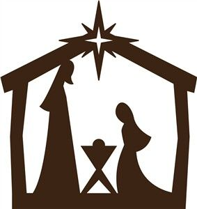 283x300 Easy Nativity Silhouette For Children Joseph, Mary And Baby Jesus