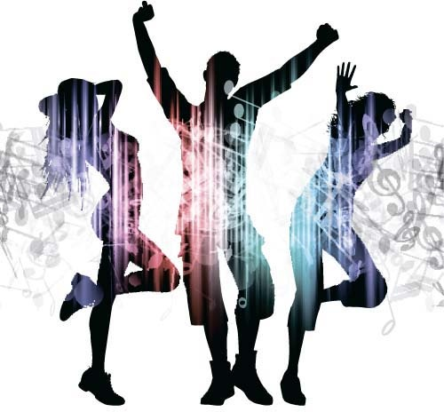 500x464 Music Party Backgrounds With People Silhouettes Vectors Free