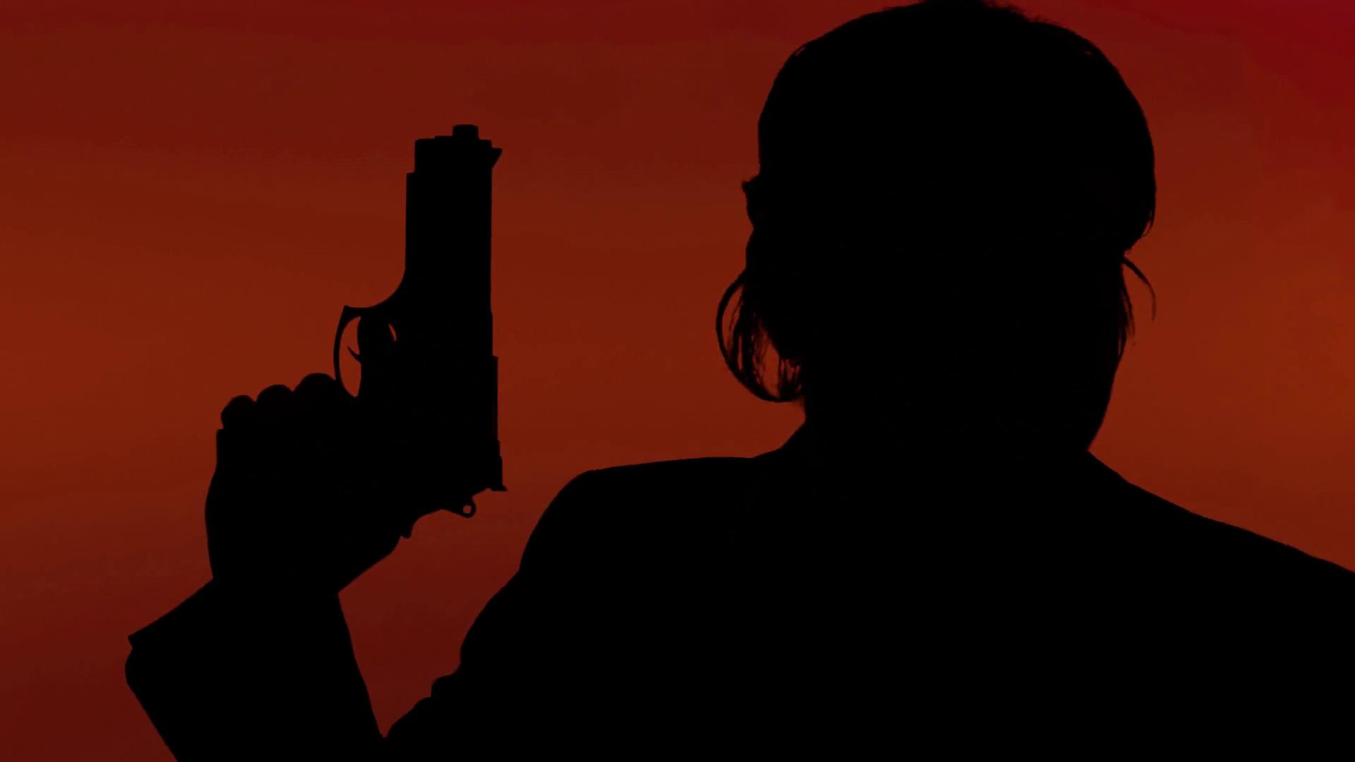 1920x1080 Silhouette Gun Handcuffs Detective Man Red. A Man (Cop, Detective