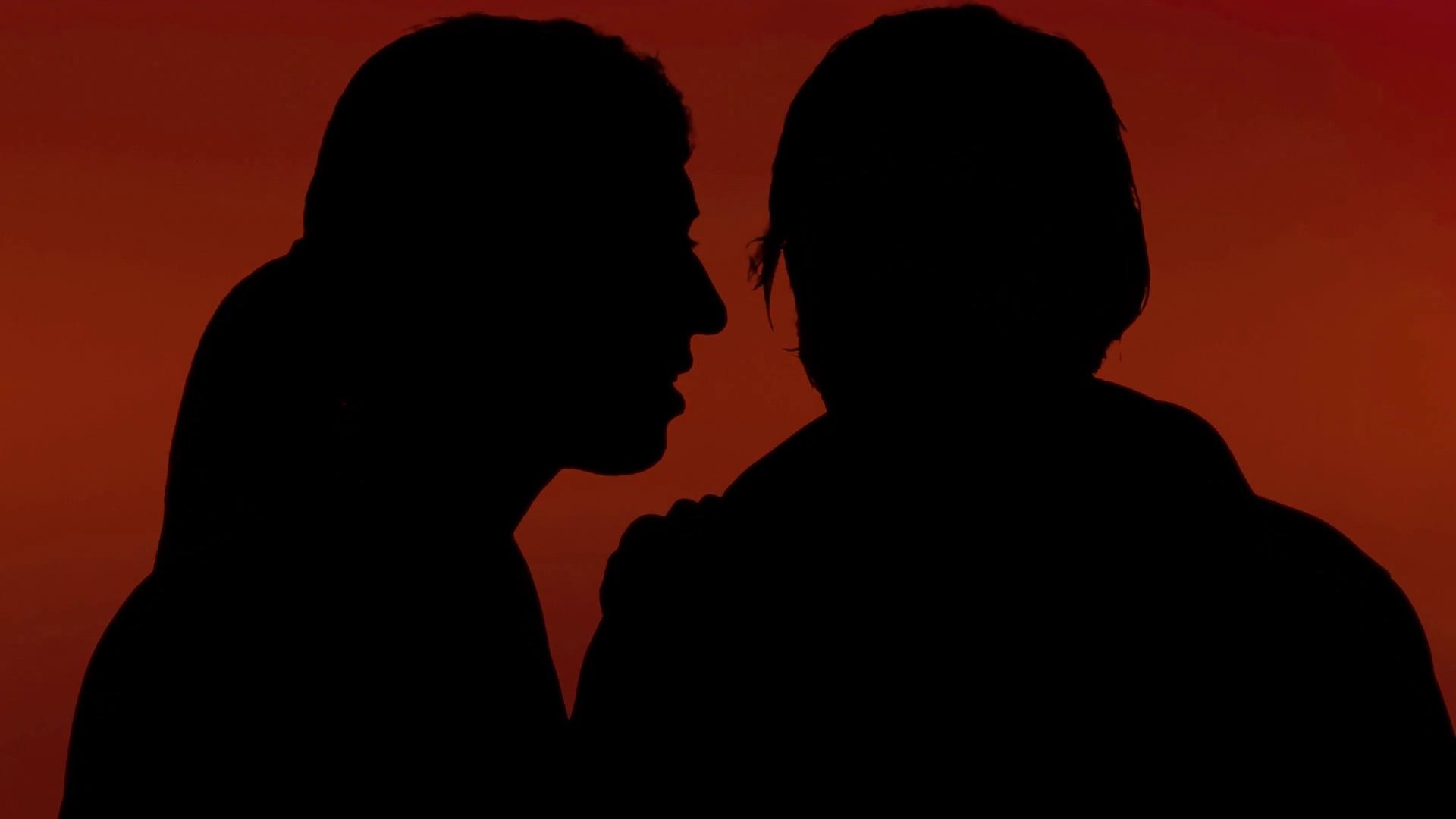 1920x1080 Silhouette Man Woman Secret Whisper Red. A Man Whispering A Secret