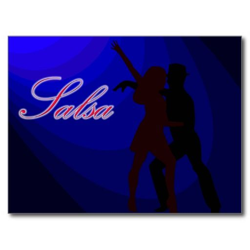 512x512 Silhouettes Of Salsa Dancers With Blue Background Post Cards