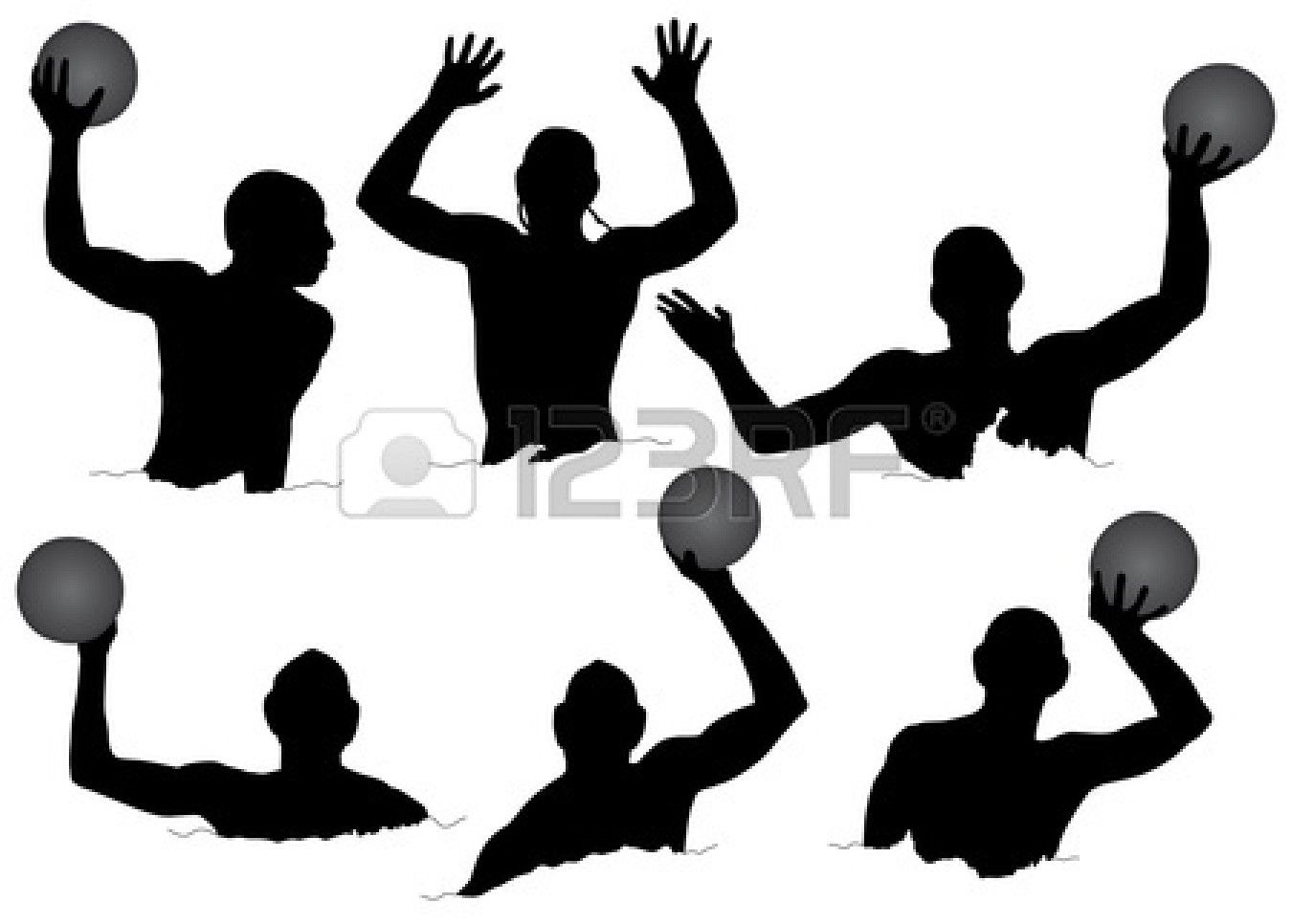 1350x966 Water Polo Silhouette On White Background Stock Vector