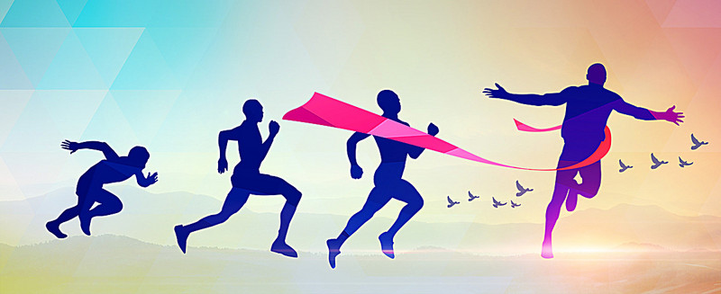 800x327 Cartoon Sport Silhouette Running Background Banner, Cartoon