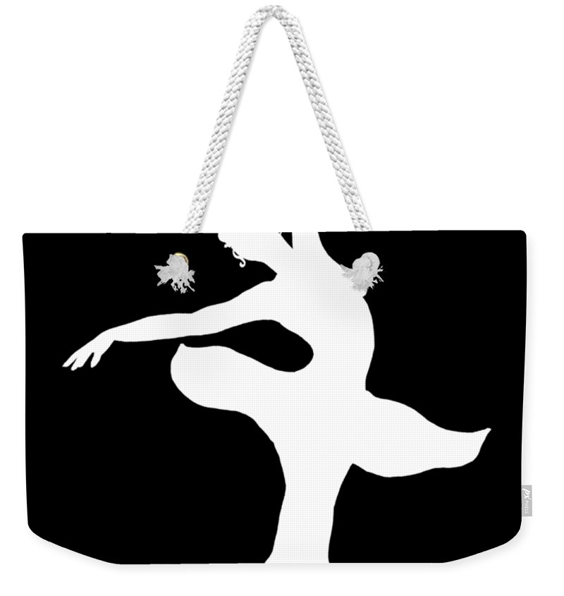 800x845 Dancing Ballerina White Silhouette Weekender Tote Bag For Sale By