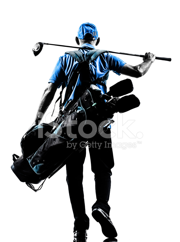 765x1024 Man Golfer Golfing Golf Bag Walking Silhouette Stock Photos