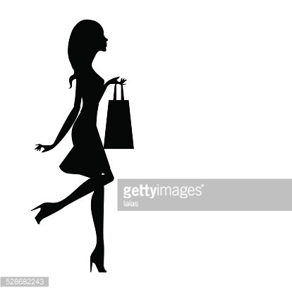 414x414 Silhouette Of A Girl With A Shopping Bag Premium Clipart