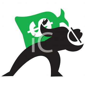 350x350 Silhouette Of A Man Holding A Bag Of Money Icon