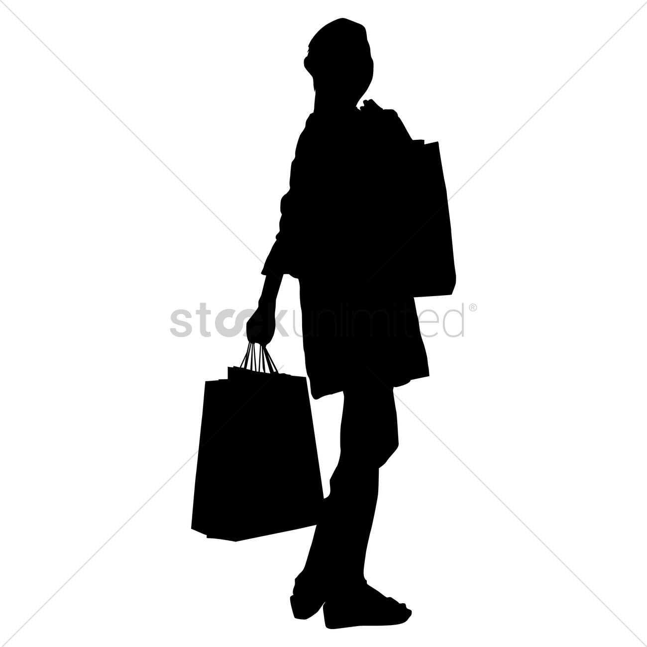 1300x1300 Silhouette Of A Lady With Hand Bag Vector Image