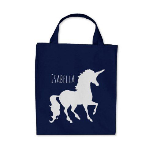 500x500 White Unicorn Silhouette Girly Kids Personalized Tote Bag Canvas