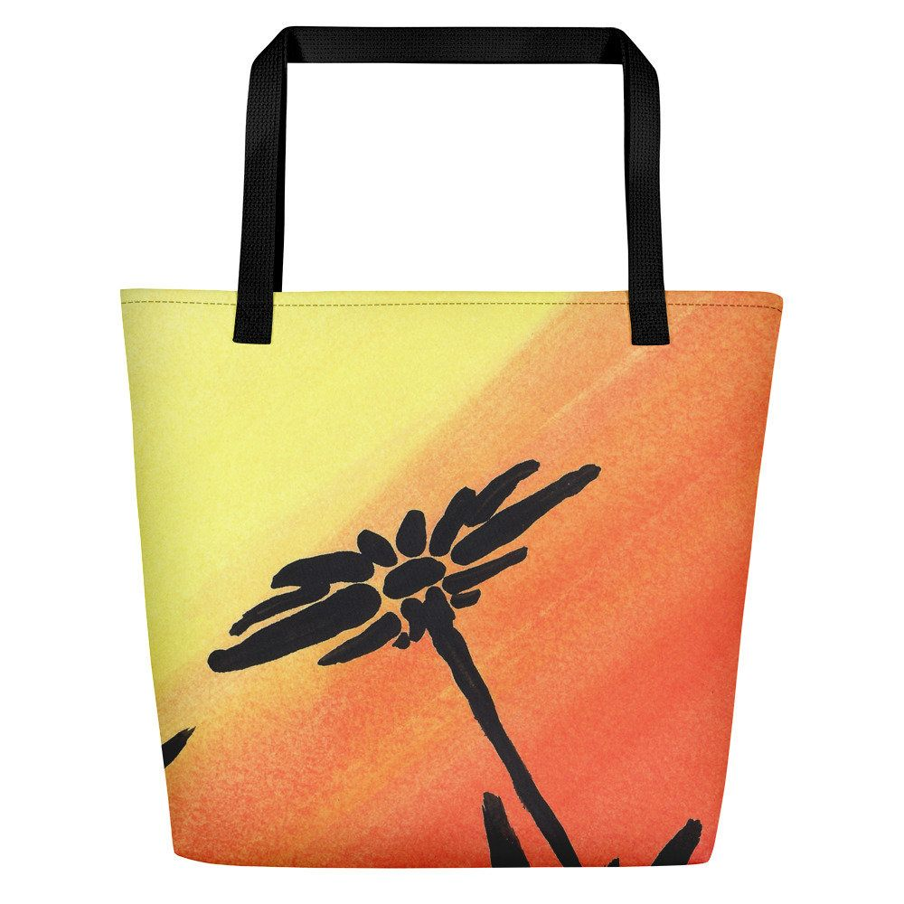 1000x1000 Beach Bag, Floral Bag, Tote Bag With Pockets, Silhouette Bag