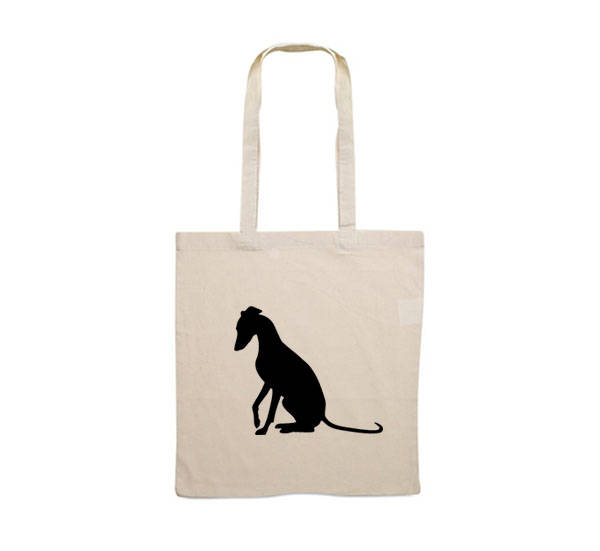600x551 Canvas Bag Whippet Sitting Silhouette