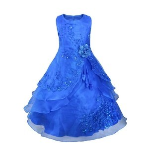 300x300 Embroidered Flower Girl Dress Kids Pageant Party Wedding