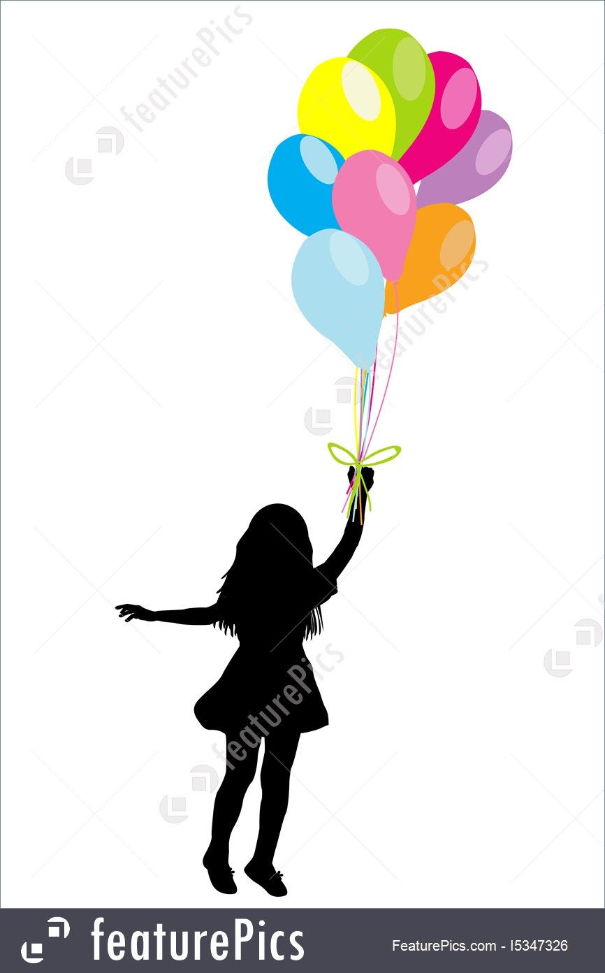 866x1392 Girl Silhouette With Colorful Balloons Stock Illustration I5347326