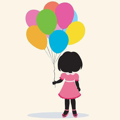 416x416 Silhouette Girl With Balloons Premium Clipart