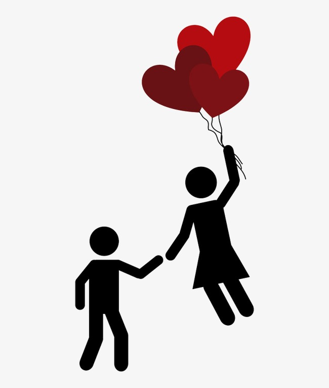 650x765 Couple Silhouette With Love Balloons Picture, Lovers, Sketch, Love