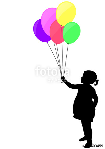351x500 Little Girl Holding Colorful Balloons Silhouette
