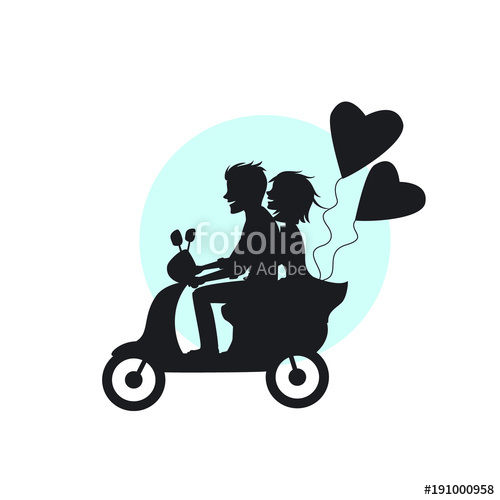 500x500 Silhouette Of Romantic Couple Riding Scooter With Heart Shaped