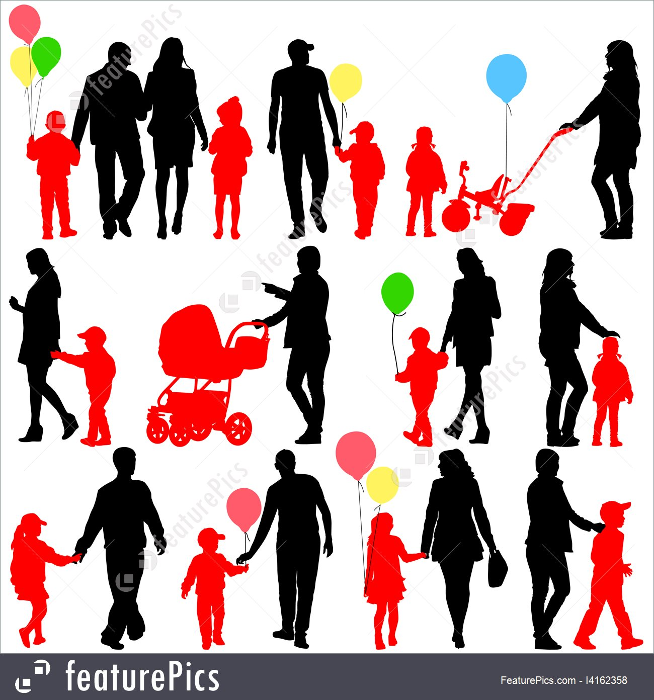 1300x1392 Black Set Of Silhouettes Of Parents And Children With Balloons