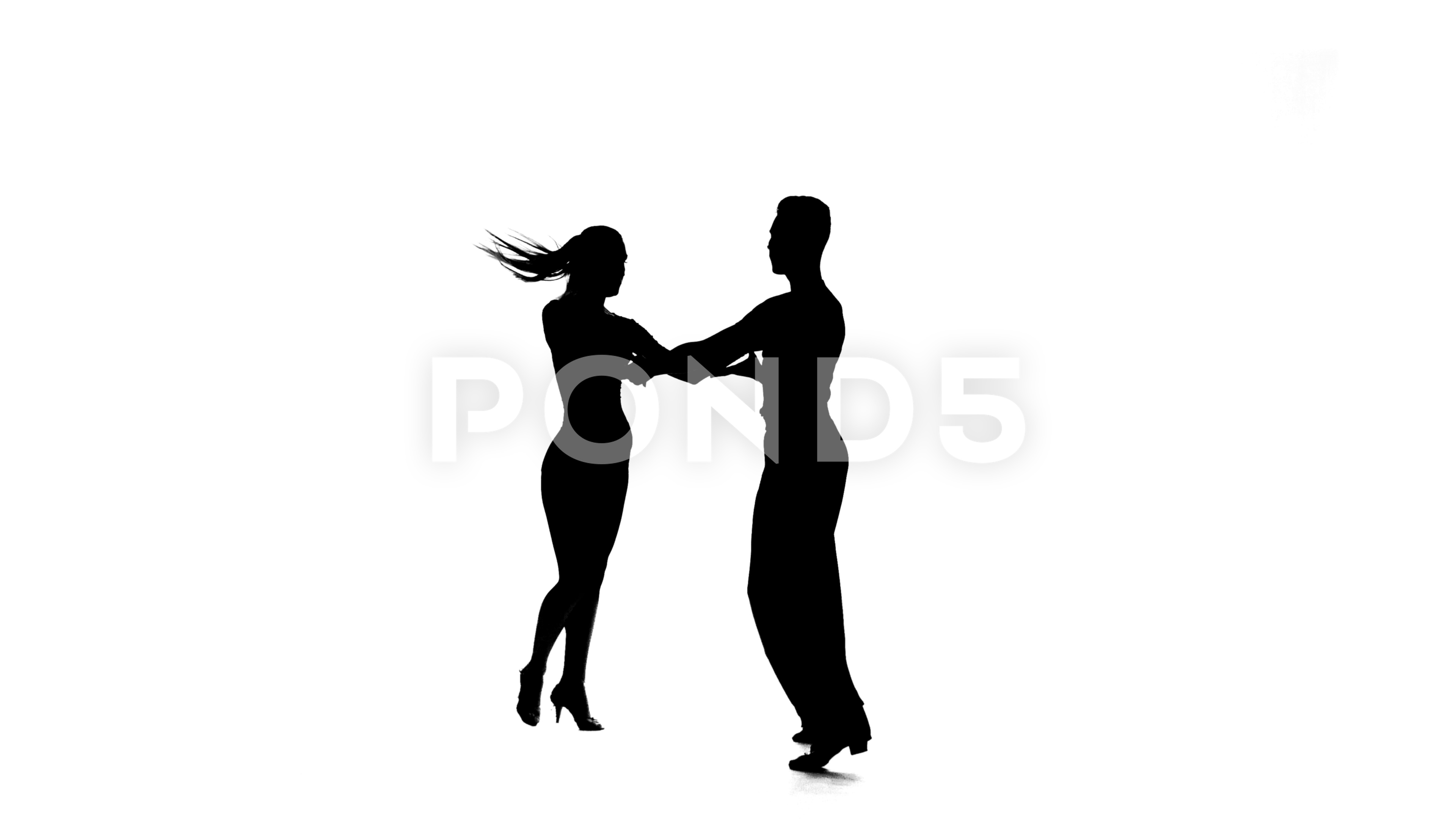 3840x2160 Silhouette Pair Professional Dancers Perform Ballroom Dance, White