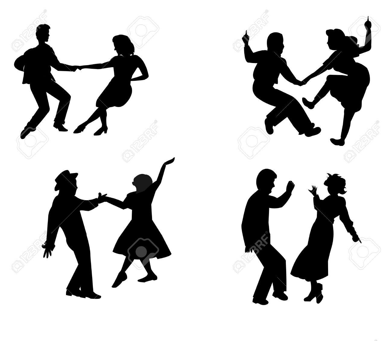 1300x1131 Swing Dance Silhouette Ballroom Dancing Assiettes Tearing