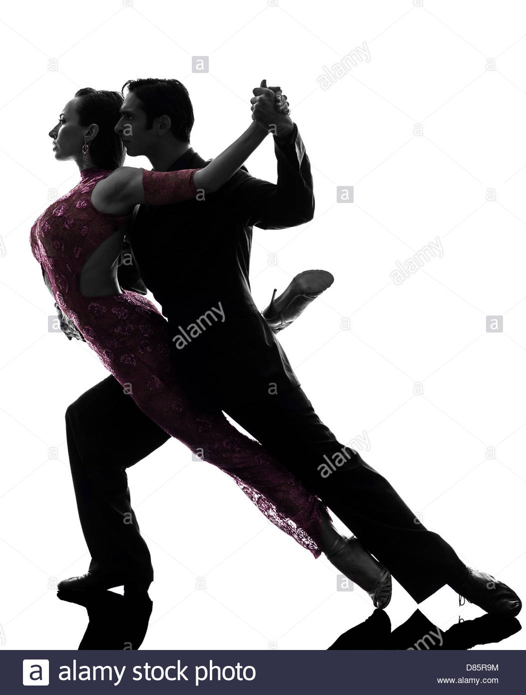 1053x1390 One Couple Man Woman Ballroom Dancers Tangoing In Silhouette