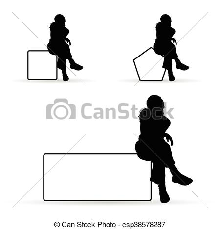 450x470 Girl Silhouette Siting On White Banner Illustration. Girl
