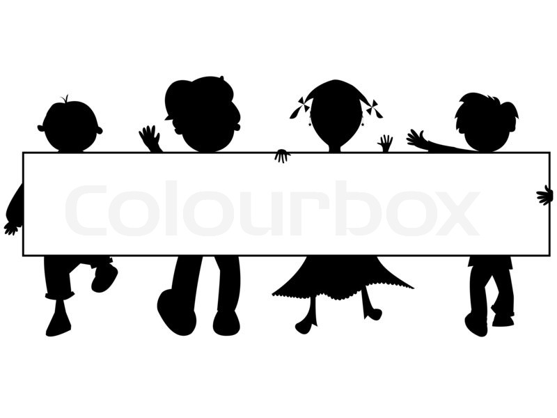 800x600 Kids Silhouettes Banner Against White Background, Abstract Art