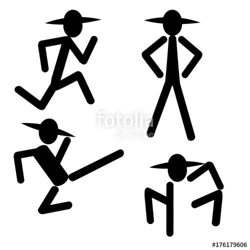 500x500 Silhouette Man Kicking Running Standing Icon Banner Logo Vector