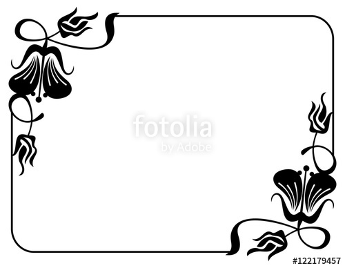 500x388 Silhouette Flower Frame. Design Element For Banners, Labels
