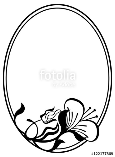 368x500 Silhouette Round Frame With Abstract Flower Ornament. Design