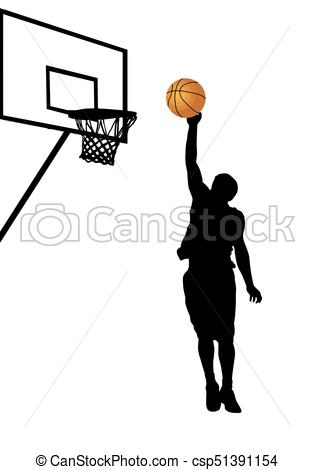 315x470 Basketball Player Silhouette On White Background, Vector