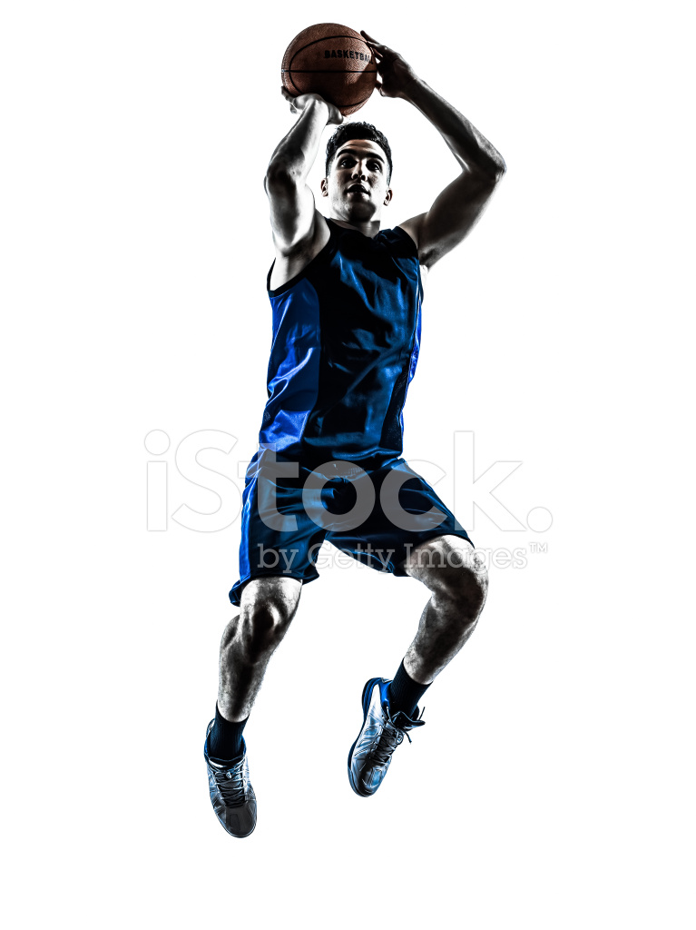 767x1024 Caucasian Man Basketball Player Jumping Throwing Silhouette Stock