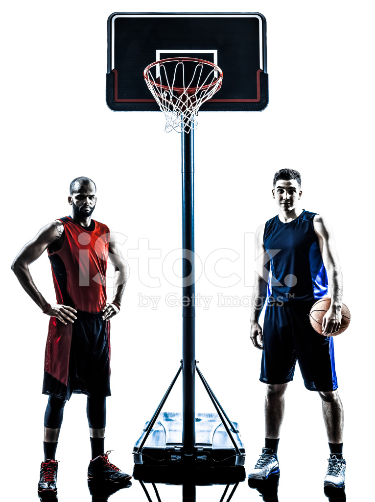 766x1024 Caucasian And African Basketball Players Man Silhouette Stock