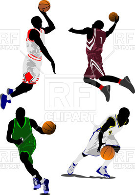 276x400 Colorful Silhouettes Of Basketball Players Royalty Free Vector