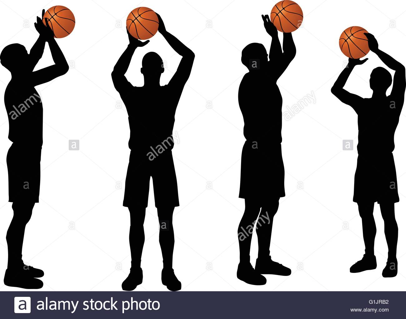 1300x1023 Eps 10 Vector Basketball Players Silhouette Collection In Free