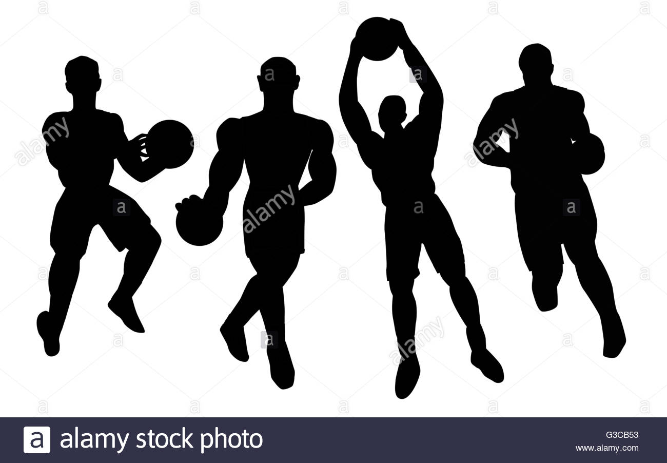 1300x902 Set Of Basketball Players Silhouette Stock Vector Art